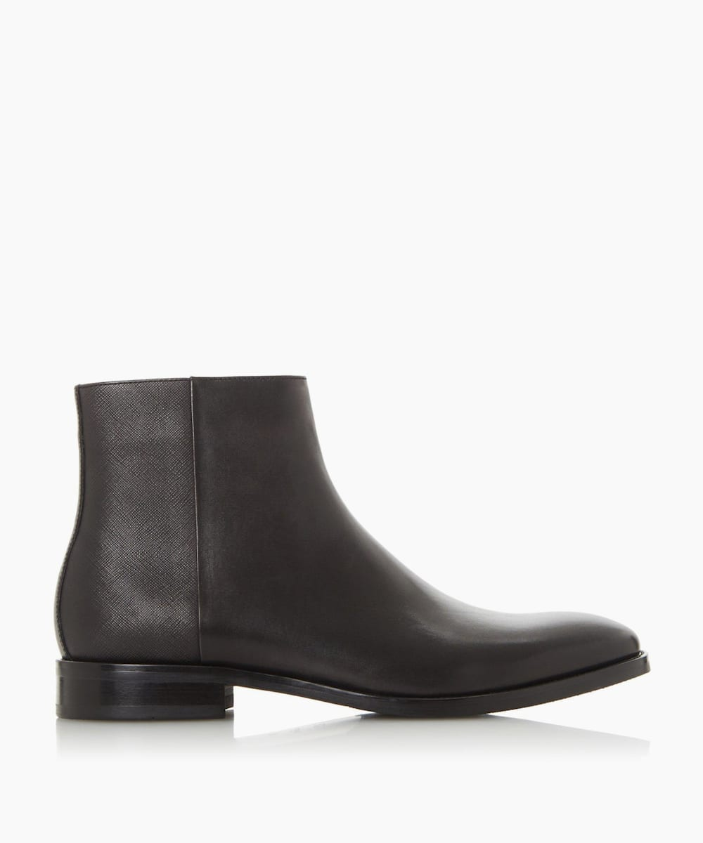 Saffiano Back Panel Side Zip Boots