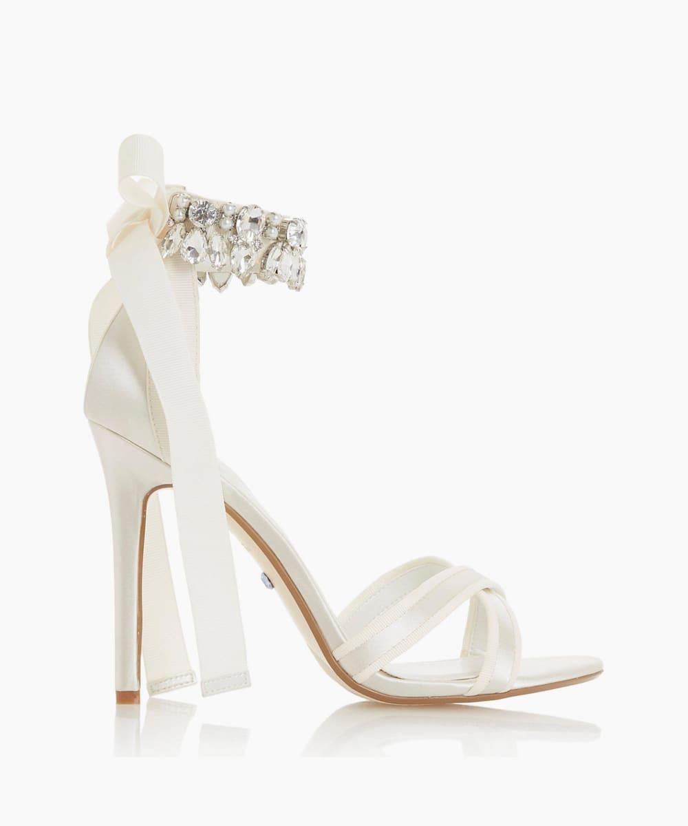 Satin Diamante Ankle Strap Sandals
