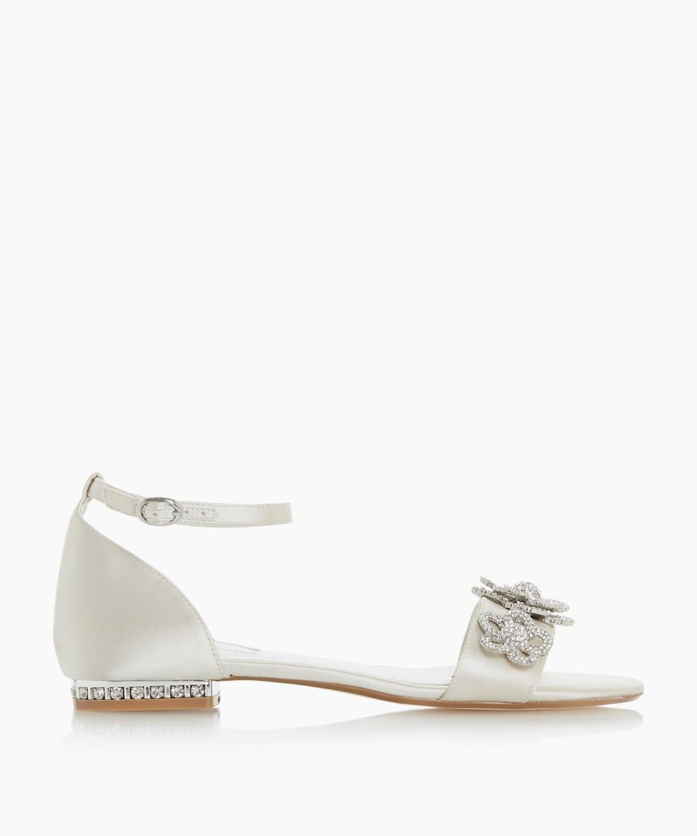Satin Ankle Strap Diamante Sandals