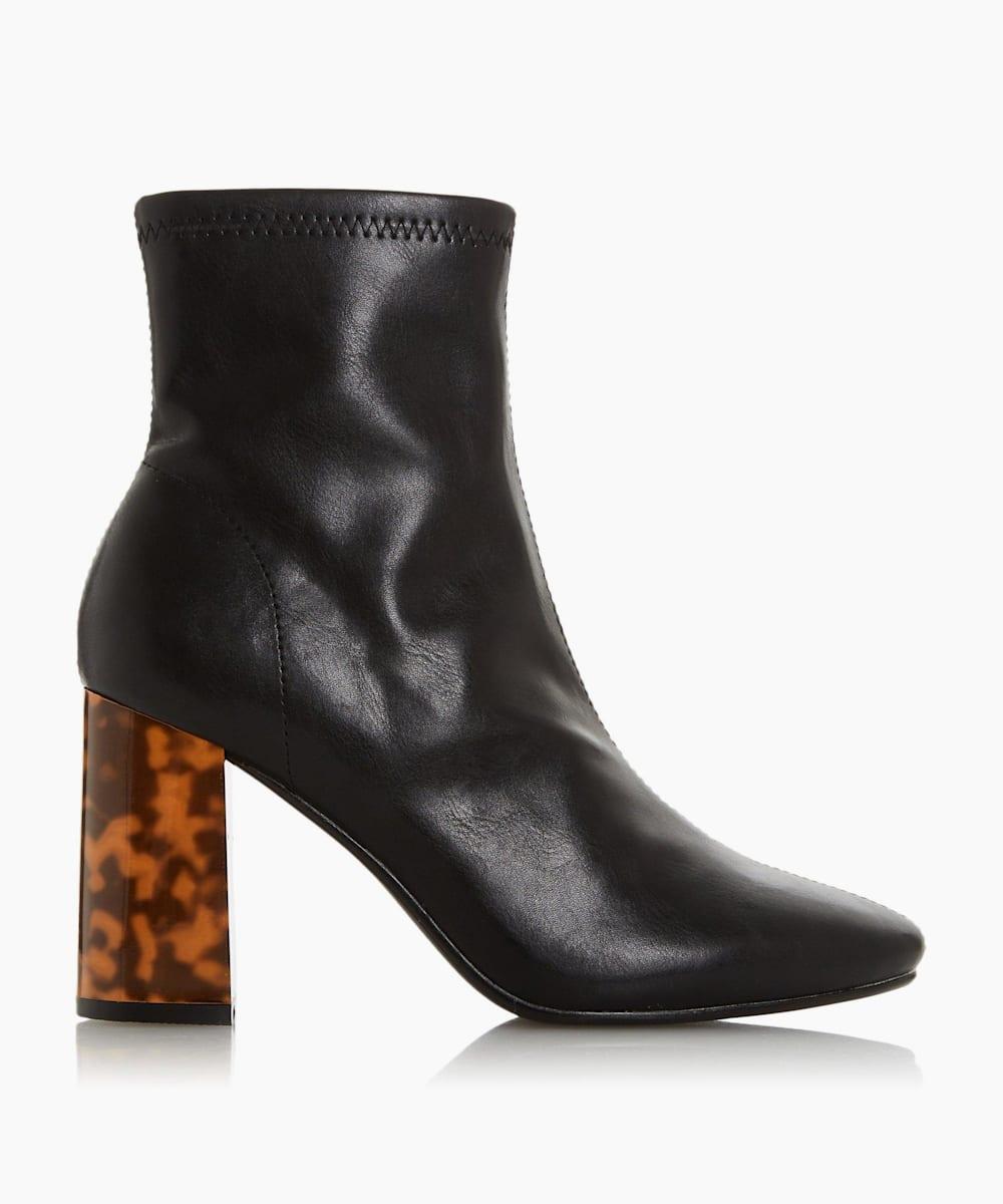 Tortoise Shell Heel Sock Boots