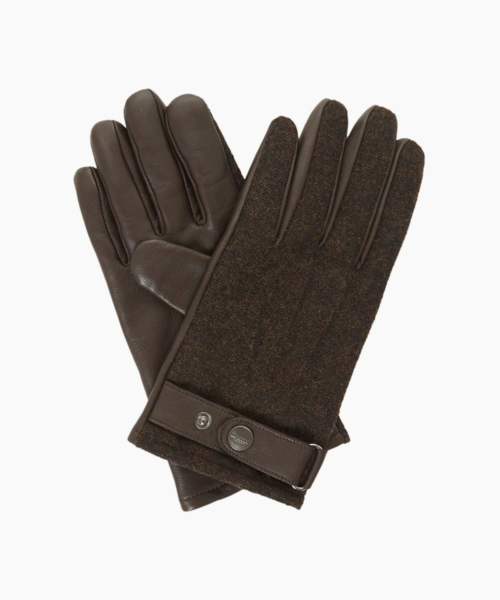 Mixed Fabric And Leather Glove