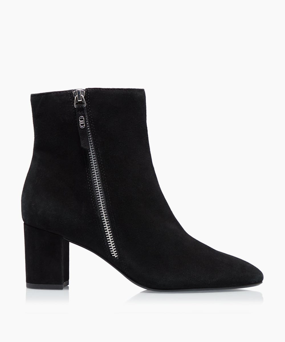 Side Zip Block Heel Ankle Boots