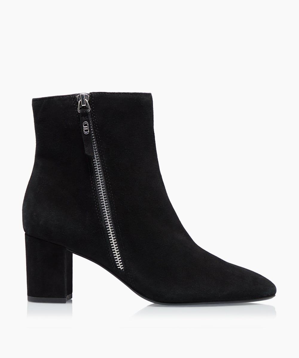 Side Zip Block Heel Ankle Boots