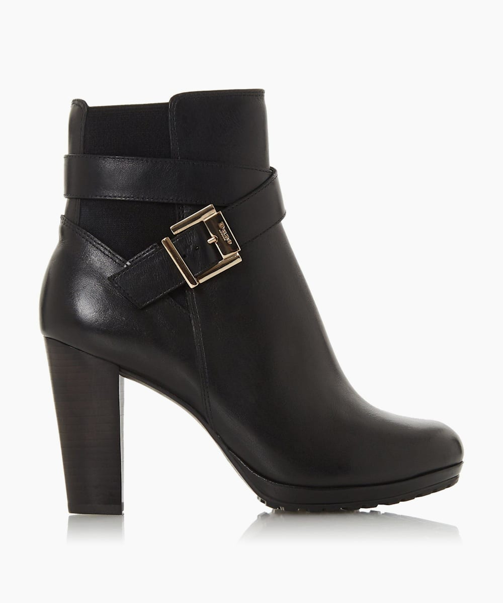 Buckle Block Heel Boots