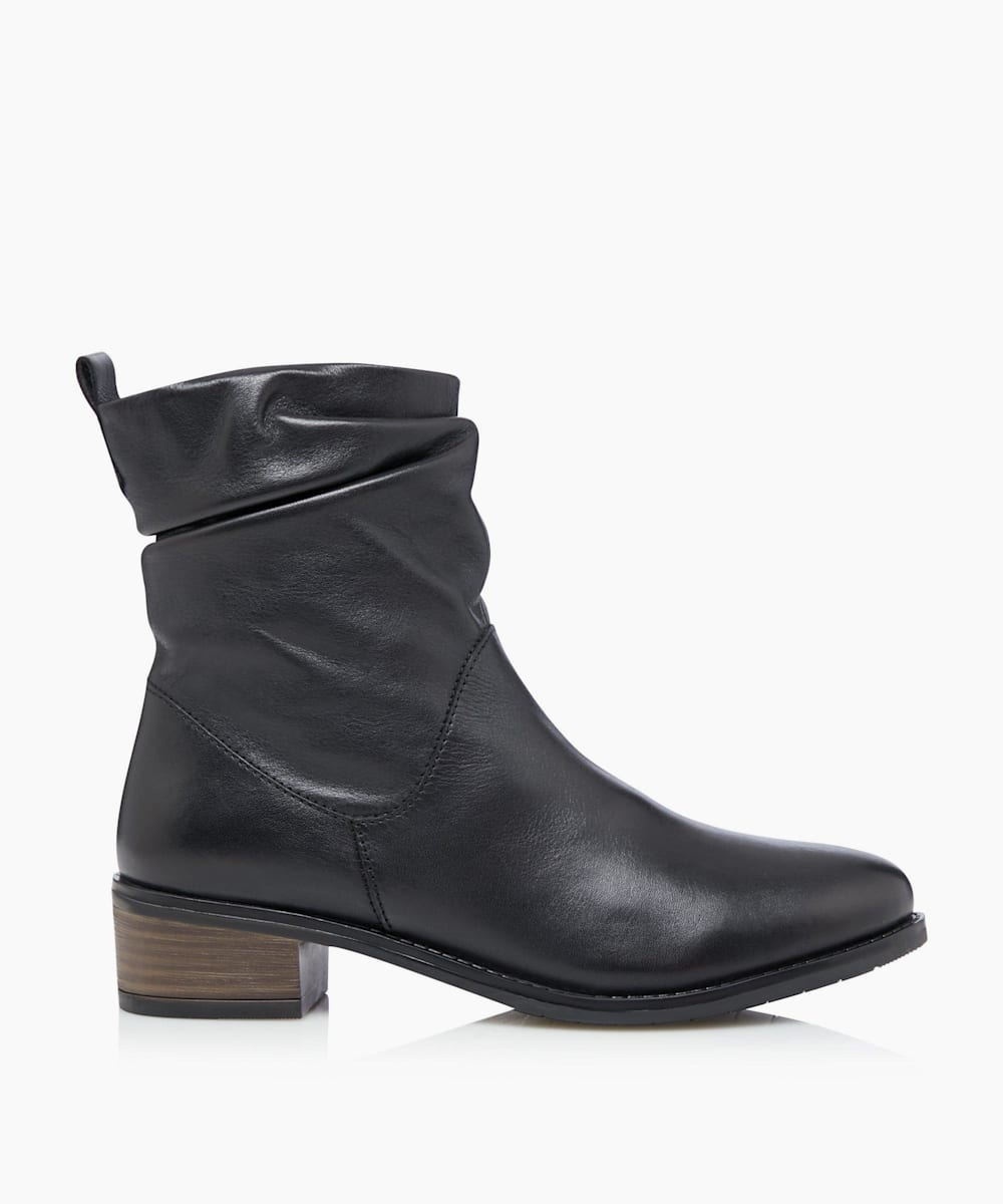 Ruched Low Block Heel Ankle Boot