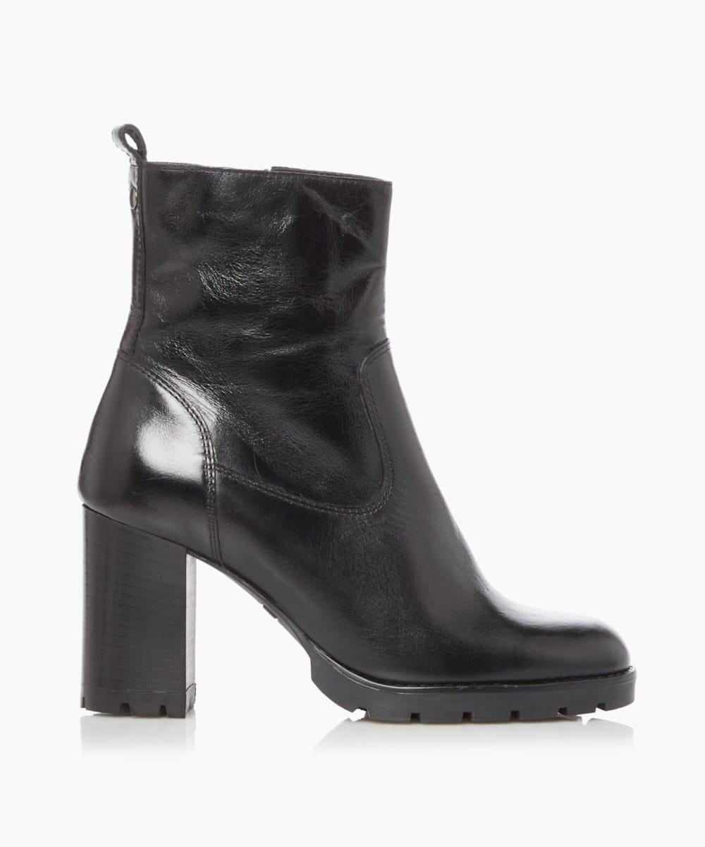 Cleated Zip Up Block Heel Boots