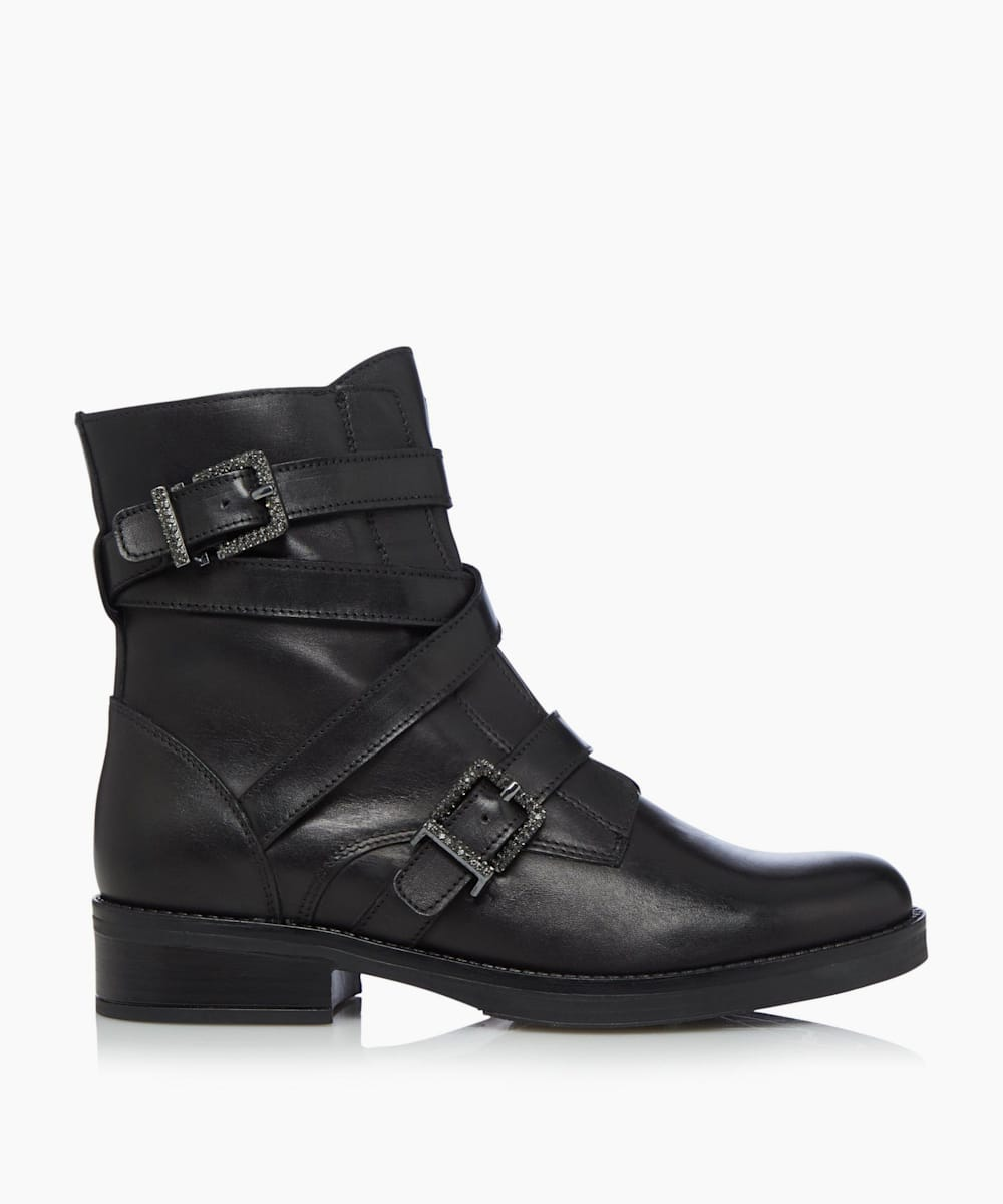 Buckle Strap Biker Boots