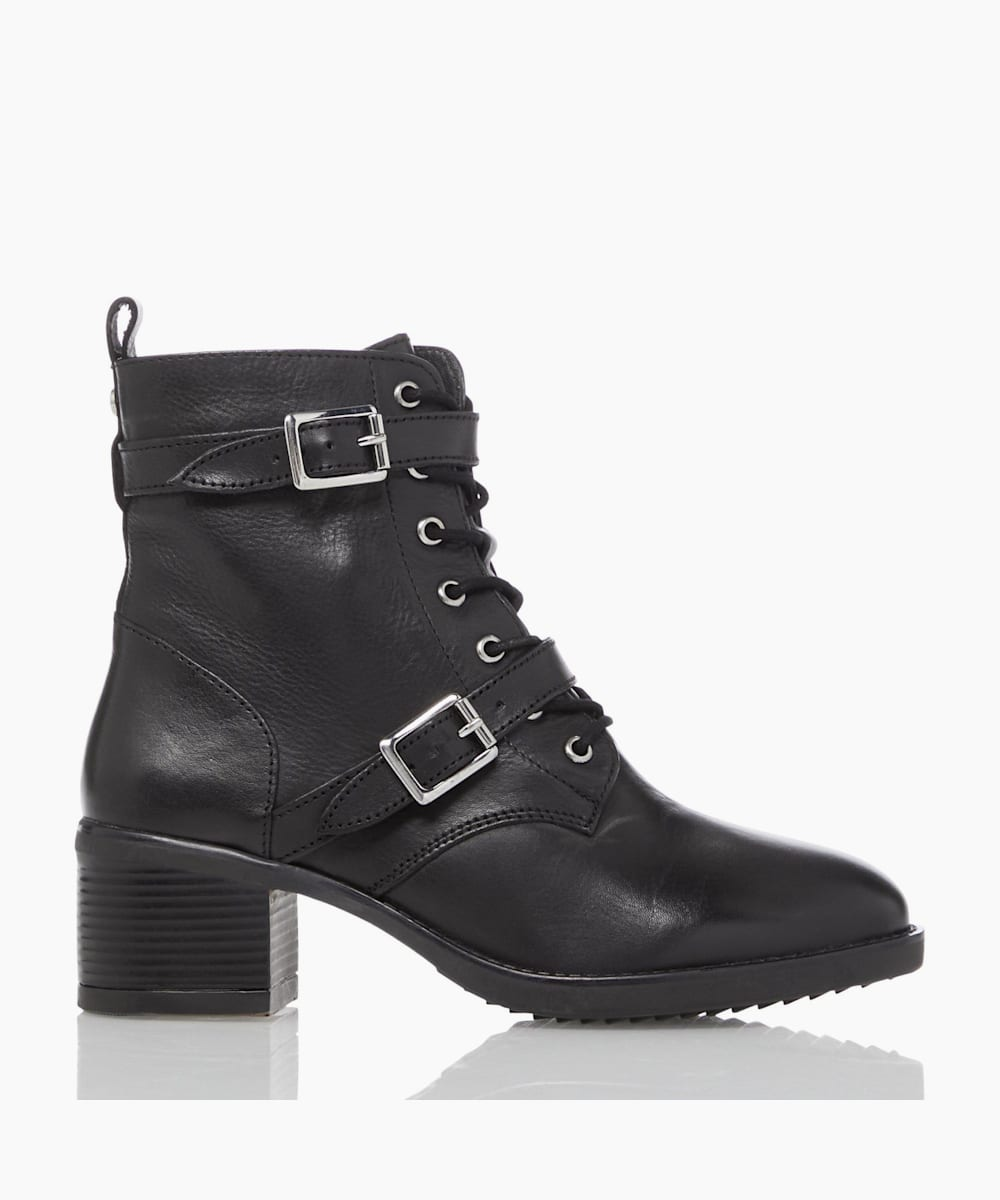 Buckle Detail Heeled Hiker Ankle Boots