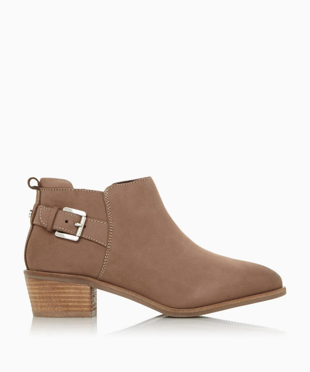Buckle Trim Stacked Heel Ankle Boots
