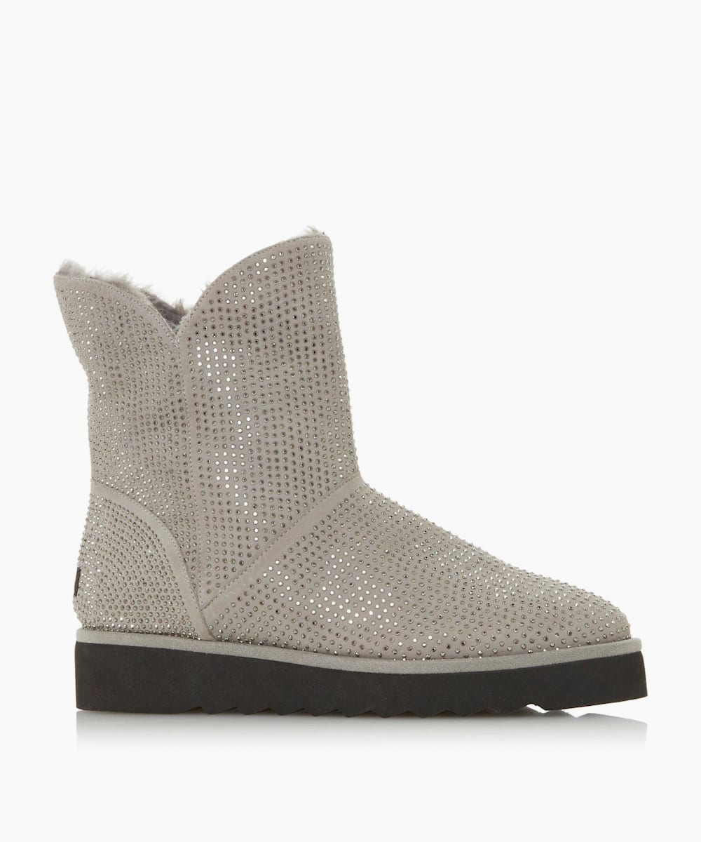 Diamante Embellished Faux Fur Lined Boots