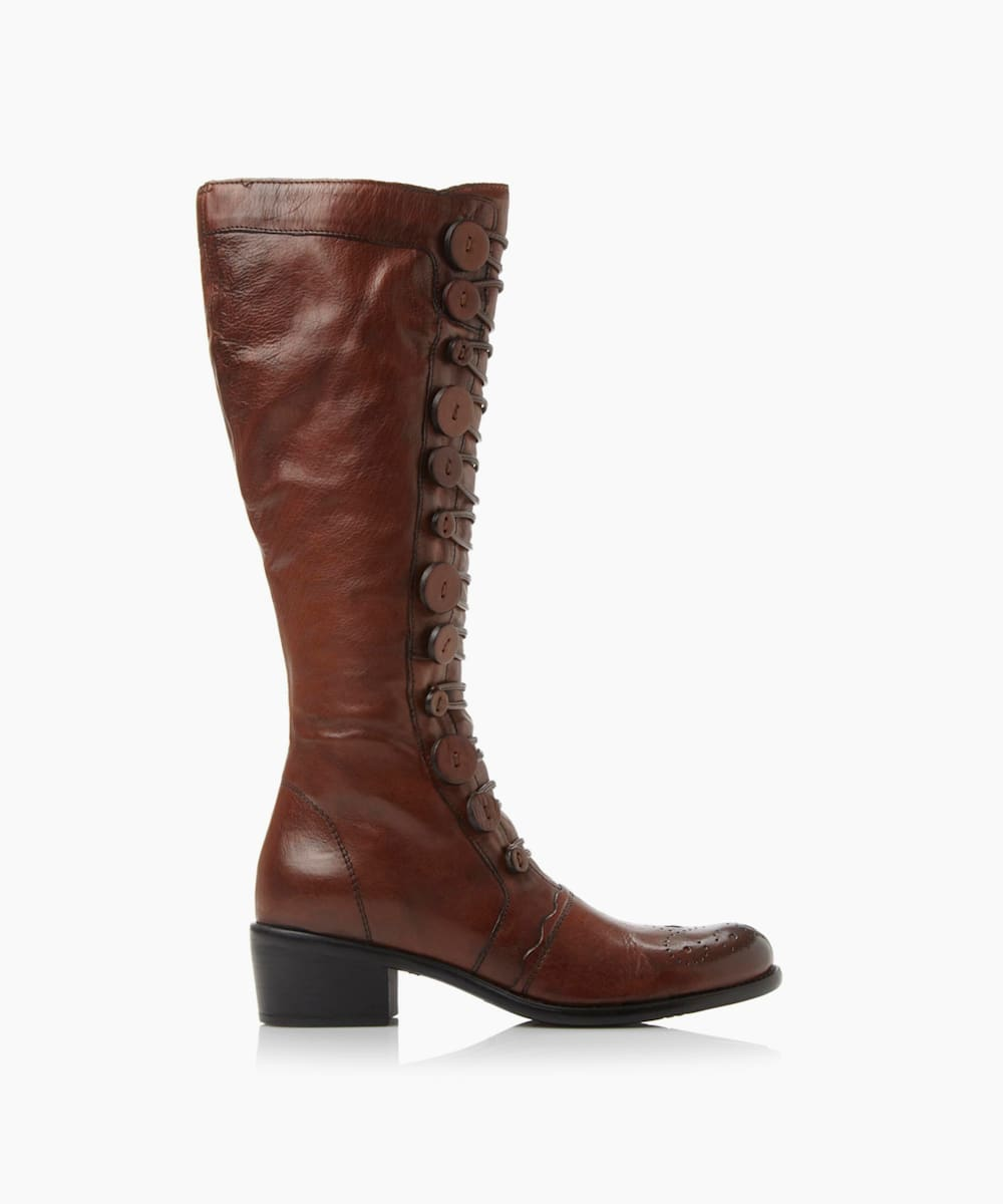 Button Detail Leather Knee High Boots