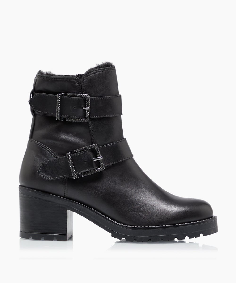 Embellished Buckled Zip Up Ankle Boots