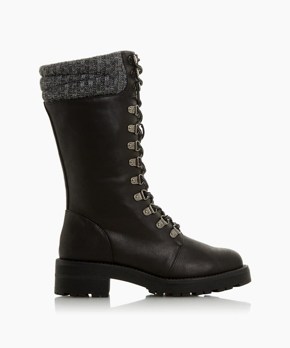Knitted Cuff Calf Hiker Boots