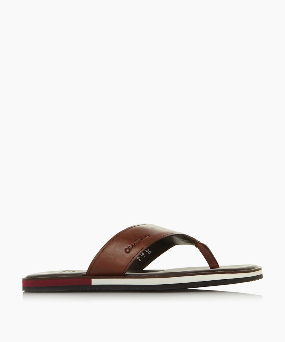 Leather Strap Toe-Post Flip Flop