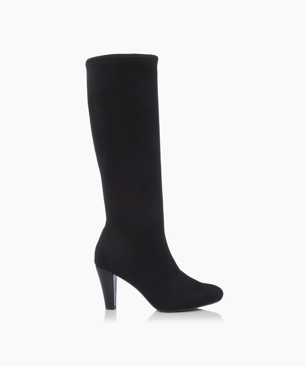 Cone Heeled Knee High Boots