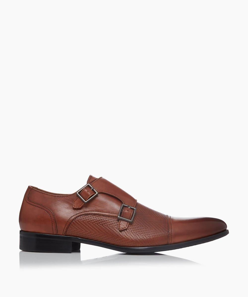 Smart Embossed Double Buckle Monk Shoes