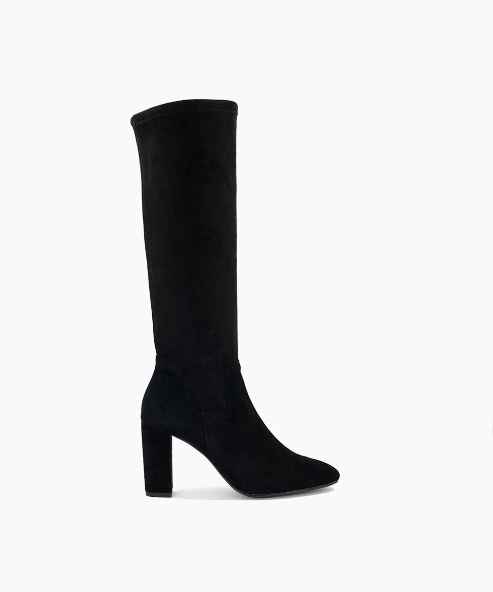 Stretch Block Heel Almond Toe Boots