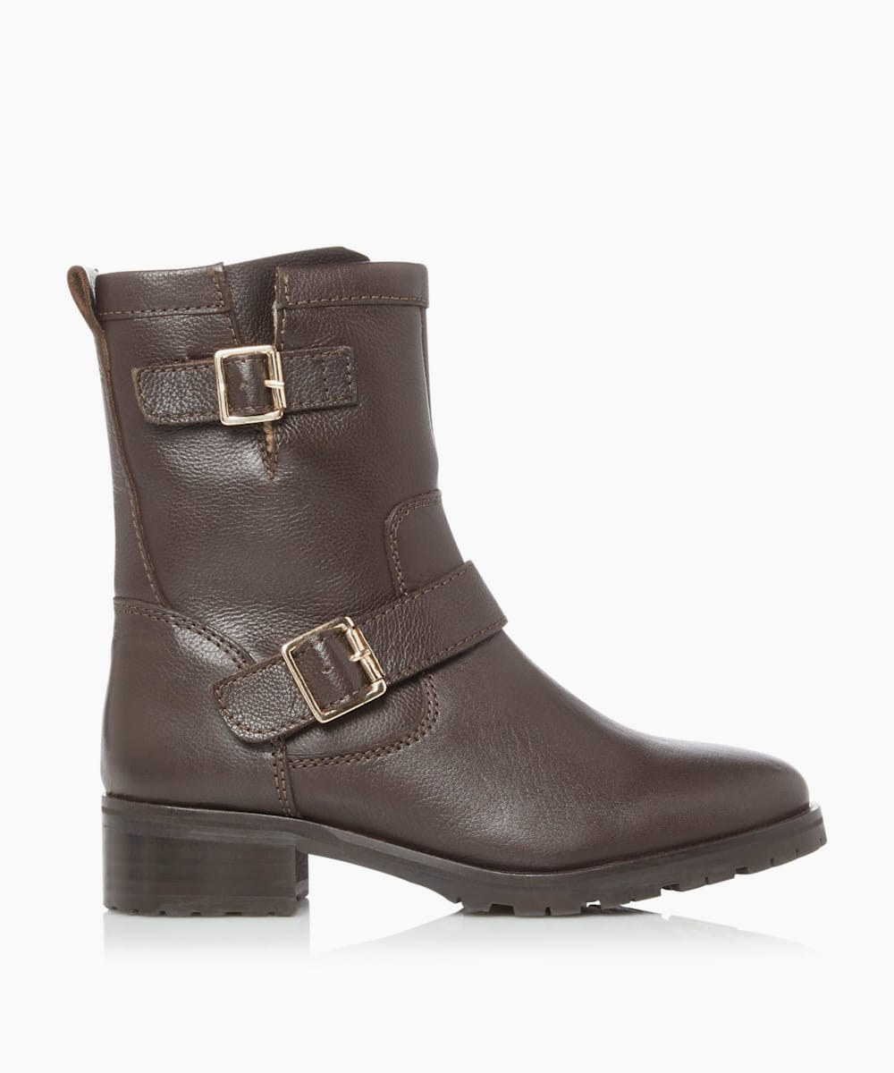 Lined Buckle Calf Boots