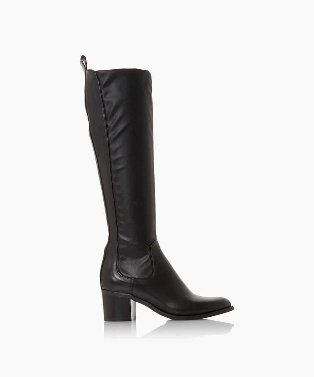 Mid Block Heel Knee High Boots