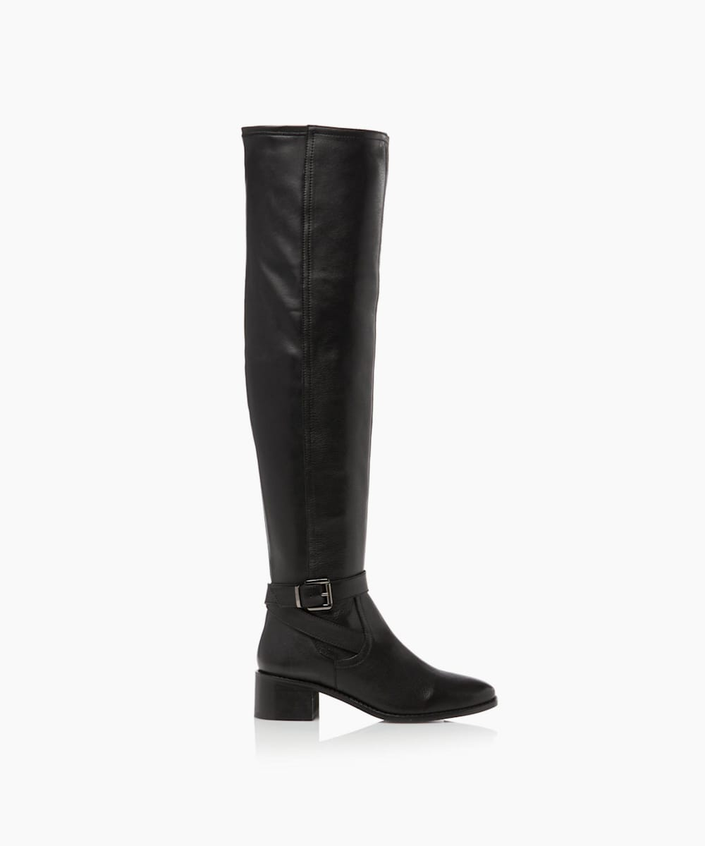 Buckle Detail Over Knee Stretch Boots