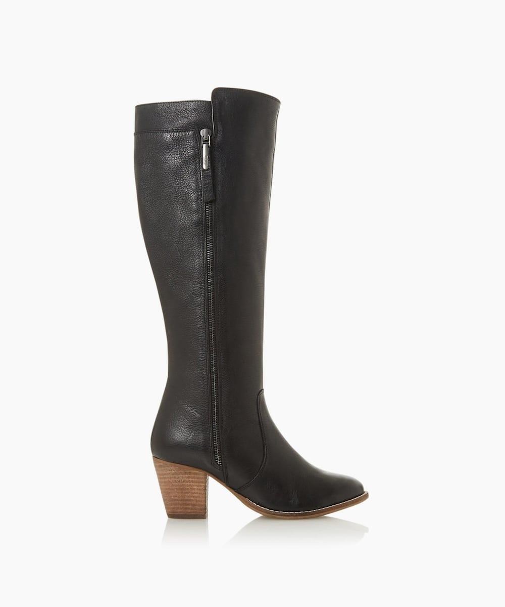 Western Block Heel Knee-High Boots