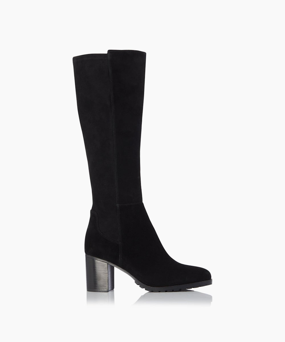 Stretch Cleated Knee High Block Heel Boots