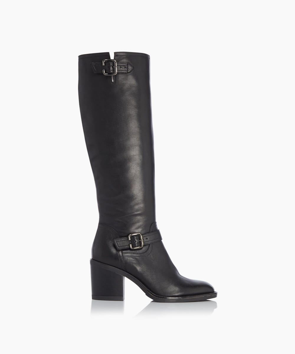 Double Buckle Block Heel Knee High Boots