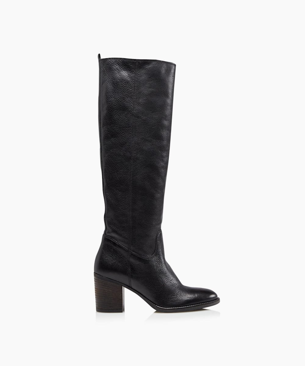 Mid Block Heel Knee High Boots