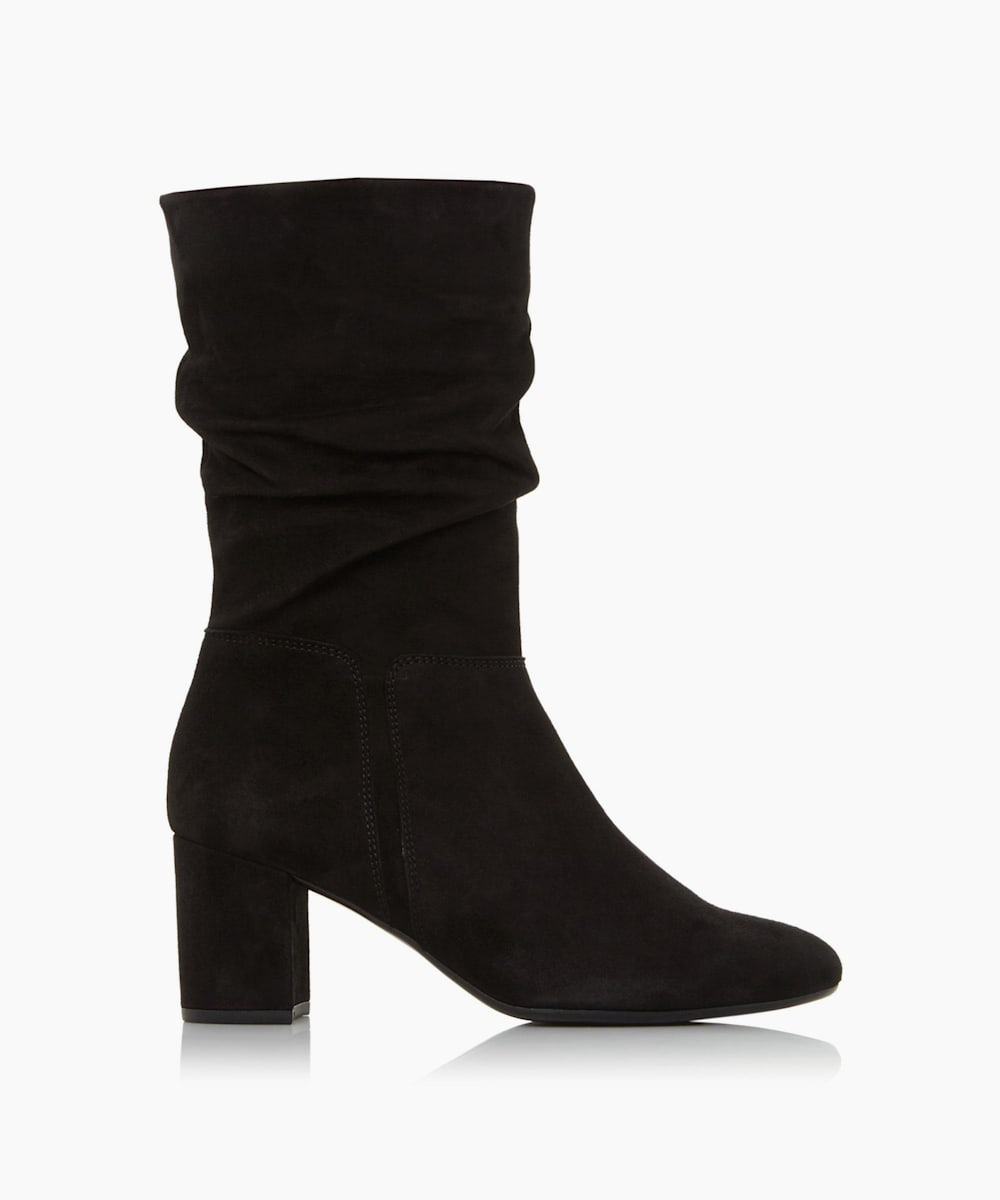 Zip Up Mid Block Heel Boots