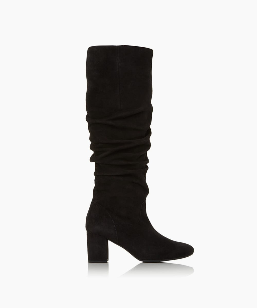 Ruched Block Heel knee High Boots