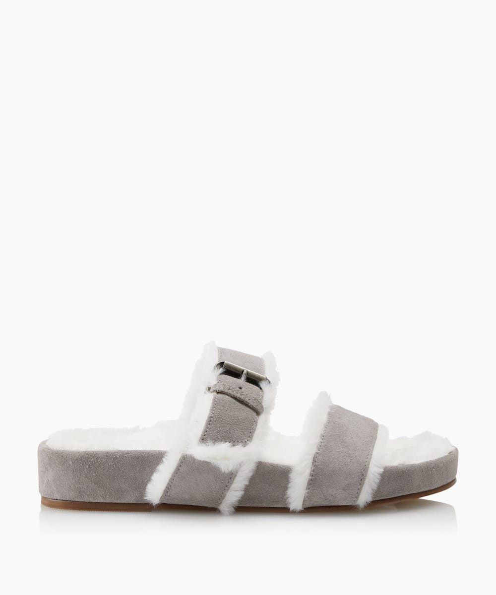 Furry Double Strap Slippers
