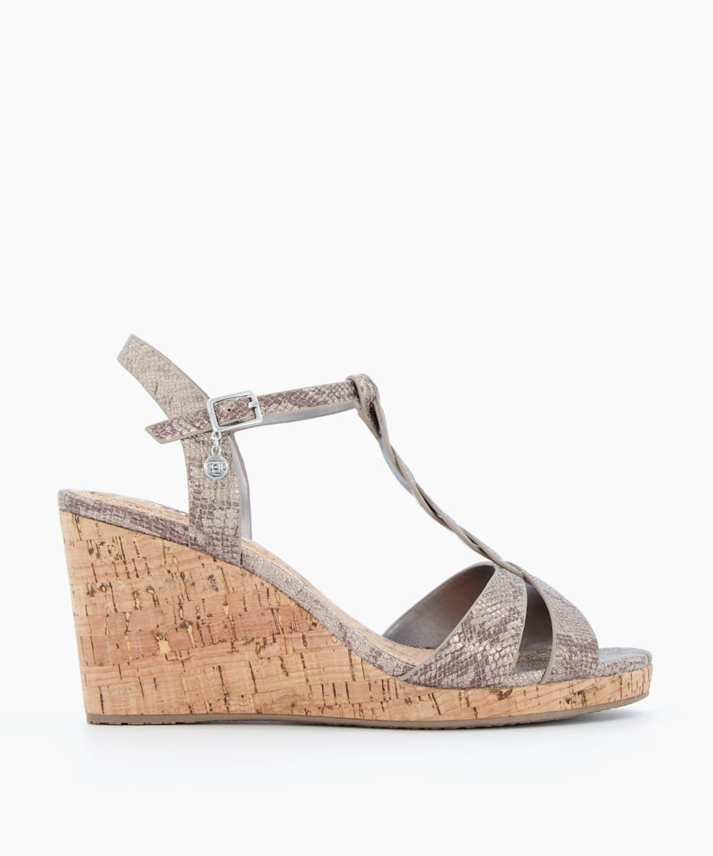 Wide Fit Plait T-Bar Strap Cork Wedge Heel