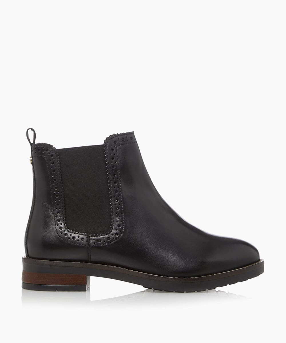 Wide Fit Brogue Detail Chelsea Ankle Boots