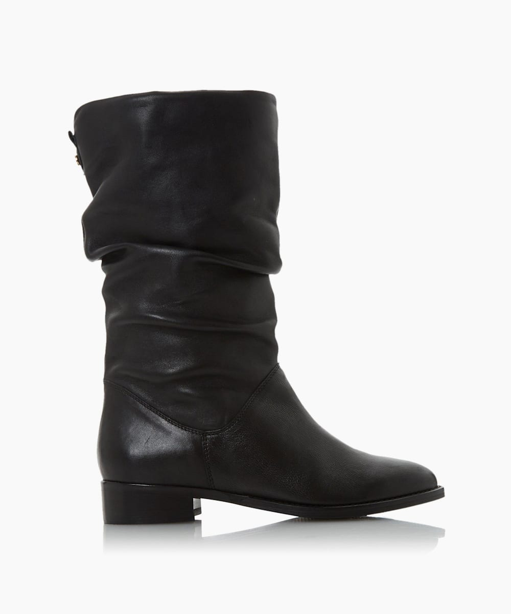 Wide Fit Leather Ruched Calf Boots