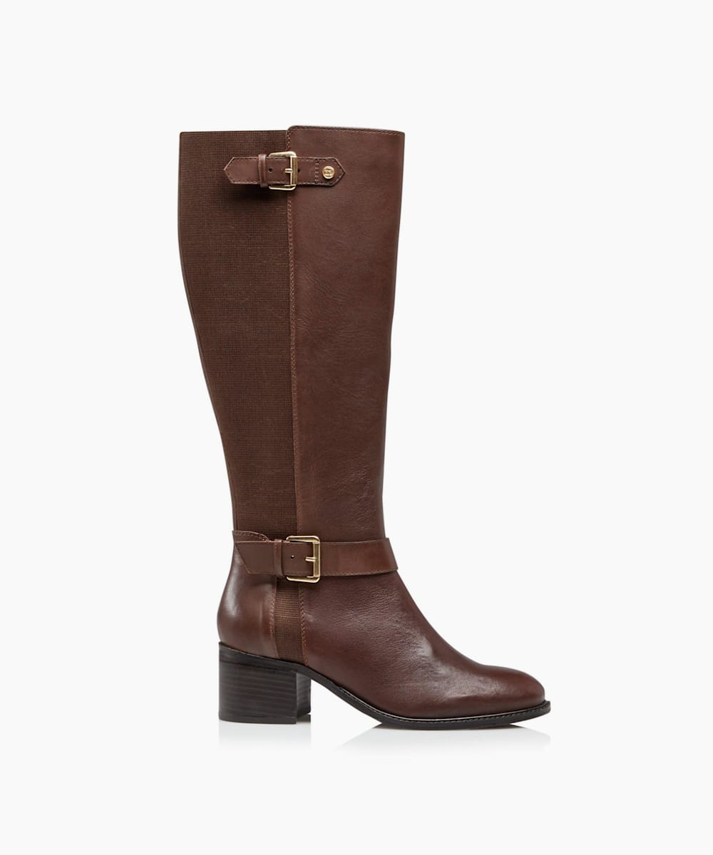Wide Fit Buckle Strap Detail High Leg Boots